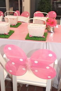 little girls birthday party - use wings or other wearable accessories both as decorations initially and then part of the party fun/favors