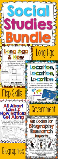 Social Studies Bundle {Complete Year of Curriculum} is a bundle of resources for second grade social studies. Includes: Long Ago & Now, Map Skills (Location, Location, Location), QR Codes for Biography Research, and All About Laws and How Nations Get Along. Complete Curriculum | Teaching Social Studies | Elementary Social Studies | Second Grade Social Studies | Scaffolded for English Language Learners | ELL Social Studies | ESL Social Studies