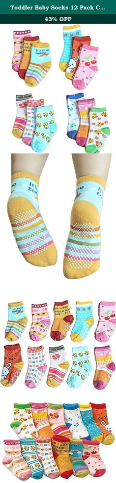 Toddler Baby Socks 12 Pack Colorful Anti Slip Skid Socks Cotton Socks. Brand Information: Bienvenu is a formal trademark owned by Honey Cool Here. Our principle is to provide high quality product at reasonable price and excellent customer service to our customers. Product Basic Information: ** Brand: Bienvenu; ** Material: Cotton ** Size: Sock Length: 3.54-5.9''; ** Gender: Toddler Baby; Product Features: **Cute baby crew socks; ** Bright Color with Cute Animal and Fruit Print…