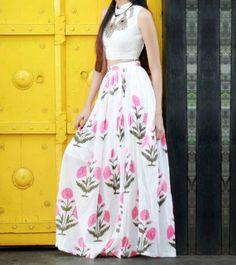 Multicoloured Cotton Printed Top & Skirt Set