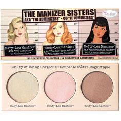 "The Manizer Sisters AKA the ""Luminizers"" ($28) ❤ liked on Polyvore featuring beauty products, makeup and highlight makeup"