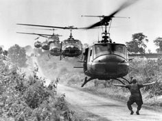 Huey helicopters, carrying troops of the U.S. 173rd Airborne Brigade, settle in for a landing near the Montagnard village of Plei Ho Drong in August 1965.