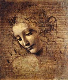 """""""Frauenkopf"""" (1508) von Leonardo da Vinci (geboren am 15. April 1452 in Anchiano bei Vinci, gestorben am 2. Mai 1519 auf Schloss Clos Lucé, Amboise), italienischer Maler, Bildhauer, Architekt, Anatom, Mechaniker, Ingenieur und Naturphilosoph."""