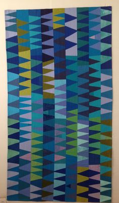 "Wendy Hook 2016 50""x 80"" Hand dyed cotton. Machine pieced and quilted"