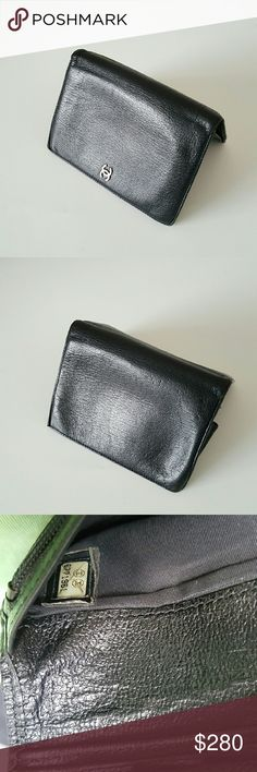 """Chanel CC Logo Bifold Wallet 100% authentic wallet from Chanel , Bifold with zip coin department , 6 slot credit card, 4paper department , black leather, been worn very gentle and normal sign of wearing. Doesn't come with box or authenticity card.  Measurements are 4"""" x 6"""" x1"""" CHANEL Accessories"""