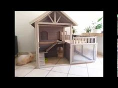 Cute indoor bunny hutch / house - YouTube - the blinds don't seem like a good idea though, they could be a strangle hazard.
