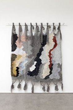 Abstract paintings utilizingweaving, fabric, dangling string and cordsTextile artist Ann Cathrin November HøiboUntitled, 2014Handwoven wool, nylon and jersey
