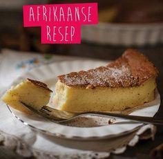We celebrate National Milk Tart Day! Do you remember Mareli Visser on Koekedoor on Kyknet? Korslose Melktert, Melktert Recipe, Custard Recipes, Tart Recipes, Baking Recipes, Baking Desserts, Baking Ideas, Kos, Easy Microwave Recipes