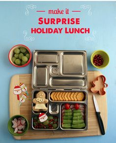 Holiday bento lunch - we don't bento but I like the idea of surprising the kids with this for lunch one day in December. The sugar snap pea trees are my favorite.