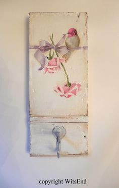 custom order: Hummingbird painting on antique wooden Plinth block with vintage wire hook.  SOLD