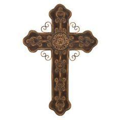 "Orthodox Christian Cross Metal Wall Hanging 21""h, 14""w"