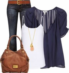 Casual Outfits | Blue and Brown  Joie Berkeley Top, Mango tank top, LAURA jeans, Marc By Marc Jacobs Bag, Dickins & Jones Belt  by felicia-alexandra