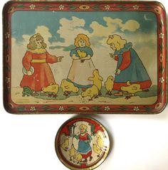 "Antique 1916 Leo Schlesinger Tin Litho Toy Tea Set ""Girls and Chicks"" | eBay"
