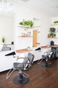 before + AFTER // Ash + Mae Hair Loft // Newport Beach - Boho, refined hair salon in Southern California. Ash and Mae Hair Loft in Newport Beach is a modern - Ikea Shelf Hack, Ikea Shelves, Salon Shelves, Home Hair Salons, Beauty Salon Interior, In Home Salon, Design Salon, Salon Interior Design, Small Salon Designs