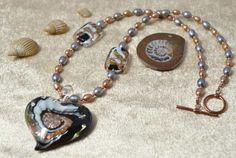 Pearl & Murano Glass Heart Necklace £58.80