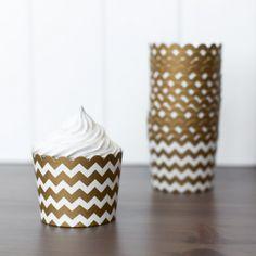 New to the Shop! Baking Cups - Gold Chevron shoptomkat.com