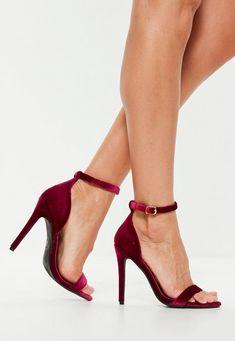 776e86286d5 Burgundy Two Strap Velvet Barely There Heel Prom Heels