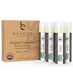 Lip Balm, USDA Organic Original Unflavored and Unscented (4 pack), Pure Natural Beeswax Lip Care with Vitamin E, Condition and Repair Dry, Cracked and Chapped Lips, Made in the USA >>> Check this awesome image  : Lip Care