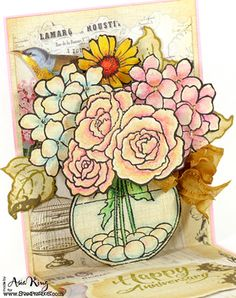 Anniversary Pop Up Bouquet - Woodware And Stampendous Blog Hop Finale ~ Under a creative spell