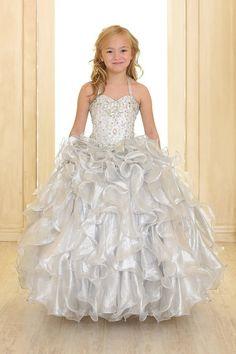 1a1511546 Patricia - Silver Multi Ruffled Pageant Dress with BoleroSilver Multi  Ruffled Pageant Dress with Bolero Jacket