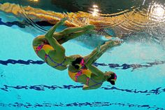 Gagnon Boudreau and Elise Marcotte of Canada compete in the Women's Duets Synchronised Swimming Technical Routine on Day 9 of the London 2012 Olympic Games at the Aquatics Centre  on August 5, 2012 in London, England.
