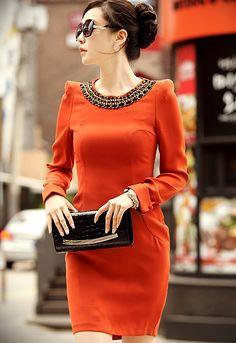 Sewn Necklace Lady Dress