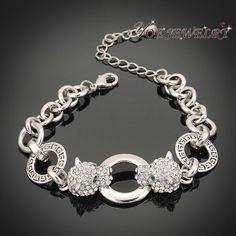 Оптовая продажа настоящее 18 К позолоченный мужская ювелирные изделия кристалл браслет цепочка двухместный тигр глава мода браслеты и браслеты для женщин.