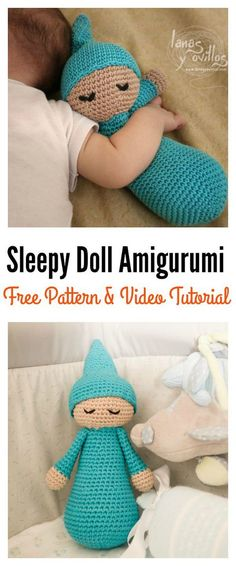 Sleepy Doll Amigurumi Free Crochet Pattern and Video Tutorial - Crochet - Sleepy Doll Amigurumi Free Crochet Pattern and Video Tutorial Free Sleepy Doll Amigurumi Crochet Pattern and Video Tutorial Doll Amigurumi Free Pattern, Crochet Dolls Free Patterns, Amigurumi Doll, Knitting Patterns, Crocheting Patterns, Loom Knitting, Baby Knitting, Crochet Gifts, Cute Crochet