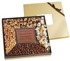 Executive Square Sampler Box w/ Window, Custom Chocolate Centerpiece, 4 Gourmet Snacks