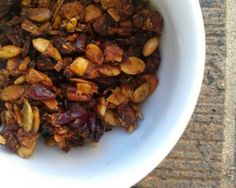 #paleo Granola: 1 cup sliced almonds; 1 cup pumpkin seeds; ½ cup pecans, chopped; ½ cup unsweetened shredded coconut; ½ cup coconut oil (or other oil); ½ cup raw honey;   ¼ cup maple syrup; 1 cup dried cranberries OR blueberries OR raisins; 1 tablespoon cinnamon; 1 teaspoon salt