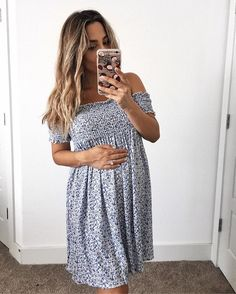 """courtney_shieldsSurprise 🤗 my """"No Heat Waves for Summer"""" 🌊 tutorial just went live on the blog! 🙌🏽 link in my bio (& on stories) // this dress is only $55 & so cute for summer http://liketk.it/2rCGJ #liketkit @liketoknow.it #25weekspregnant"""