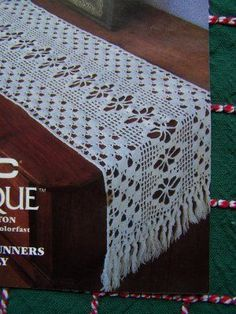1986 Vintage DMC Cotton Thread Filet crochet table runners and doily patterns. 2 sizes of table runners and 1 doily. More back issue craft magazines f Crochet Table Runner Pattern, Crochet Doily Patterns, Crochet Tablecloth, Thread Crochet, Crochet Designs, Crochet Doilies, Knitting Patterns, Craft Patterns, Free Knitting