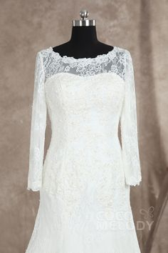 Charming Trumpet-Mermaid Bateau Natural Train Lace Ivory Long Sleeve Wedding Dress with Appliques LD3025