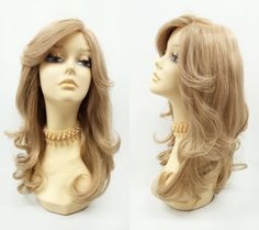 100% Remy Human Hair 19 inch Light Golden Blonde Monotop Wig