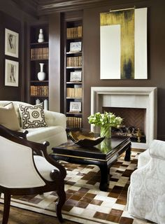 Love dark chocolate walls and geometric rug. Exquisite formal living room but I would be afraid to sit in it ; Home Living Room, Living Room Designs, Living Room Decor, Living Spaces, Living Area, Muebles Color Chocolate, Dark Brown Walls, Grey Walls, Design Salon