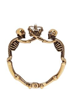ALEXANDER MCQUEEN Skeleton faux pearl crown cuff. #alexandermcqueen #cuff