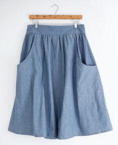 Chambray Brumby Skirt by Sew DIY Project Sewing / Skirts Kollabora Skirt Patterns Sewing, Sewing Patterns Free, Free Sewing, Clothing Patterns, Pattern Skirt, Skirt Sewing, Womens Skirt Pattern, Pattern Sewing, Coat Patterns