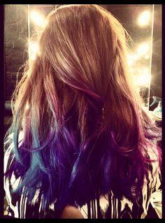 Dip dye blue & purple #hair #dipdye
