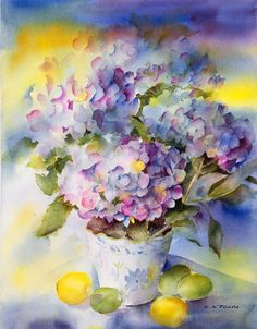 This limited edition giclee print is from my original watercolor painting titled Hydrangea Blue I love hydrangeas and this one was bursting with