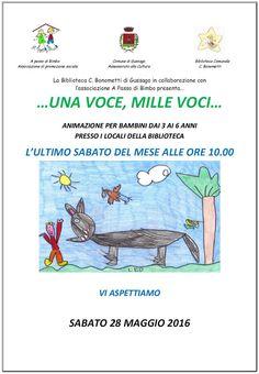"""Sabato 28 maggio continuano le letture per bambini """"…una voce, mille voci…"""" - http://www.gussagonews.it/letture-bambini-una-voce-mille-voci-maggio-2016/"""
