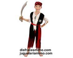 DisfracesMimo, disfraz de pirata para niños bt 36022.Este comodísimo traje de pantalon con rayas negras y rojas es perfecto para carnavales, espectáculos, cumpleaños.Este disfraz es ideal para tus fiestas temáticas de disfraces de piratas,corsarios y bucaneros niños infantiles.