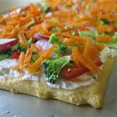Veggie Pizza Recipe- love this recipe, I do it quite often. I cut out the dill weed and instead use ranch dressing mix dill-flavored for a stronger flavoring - From http://pinterest.com/pin/242983342368222908/