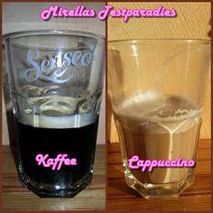 Hier seht ihr jeweils einen Kaffee und einen Cappuccino aus der Senseo Latte Duo Padmaschine.