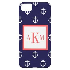 Navy Blue & Coral Nautical Anchor Custom Monogram iPhone 5C Cases