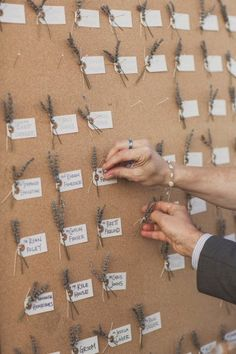 http://www.stylemepretty.com/new-york-weddings/   Seating Chart Escort Cards Lavender Rustic Chic Wedding