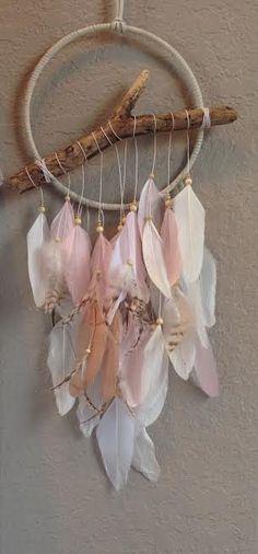 Wishbone Driftwood Dream Catcher - Pink, White, Gold - Whimsical - Nursery