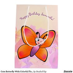 Cute Butterfly With Colorful Flowers Medium Gift Bag