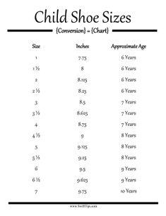 Youth Kids Shoe Size Chart Mm