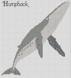 Humpback Whale Cross Stitch Pattern PDF Easy 5 Colors  Ocean