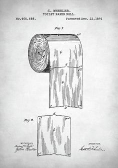 The 1335 best toilet paper roll crafts images on pinterest toilet toilet paper roll patent vintage patent 1891 toilet roll bathroom decor patent patent print patent poster patent art vintage patent patent design malvernweather Images